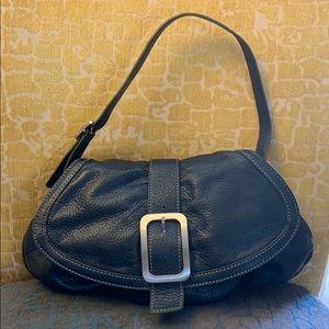 Cole Haan navy blue pebbled leather shoulder bag